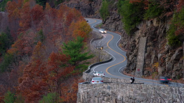 Time lapse Hawk's Nest, Port Jervis, New York autumn fall leaves colorful. Winding road. Delaware River, water gap. Sunset.