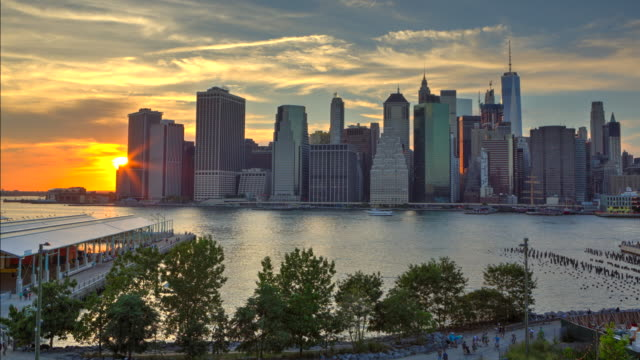 Time lapse HDR at sunset downtown manhattan NYC