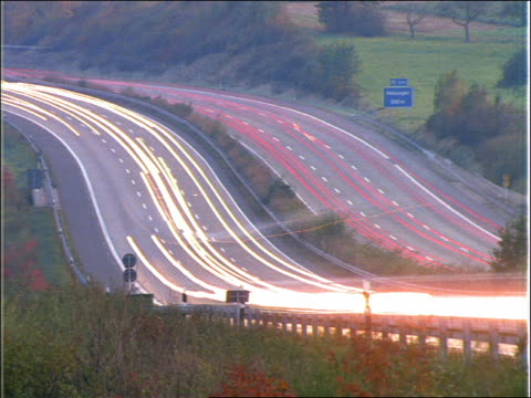 time lapse heavy traffic on autobahn / germany - anno 1992 video stock e b–roll