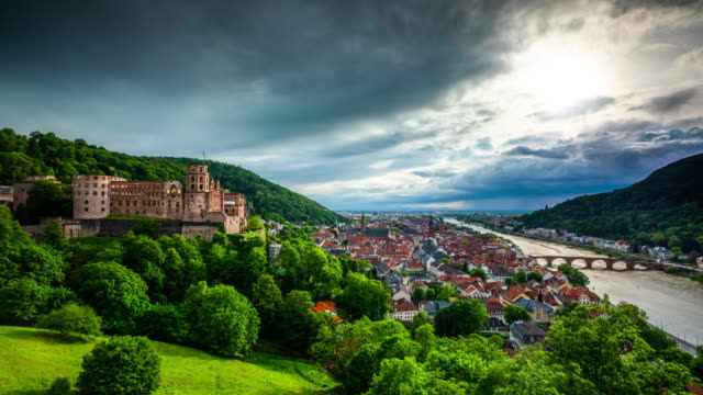 time lapse: heidelberg castle and cityscape - heidelberg castle stock videos & royalty-free footage