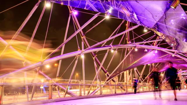 time lapse : helix bridge in singapore - helix bridge stock videos & royalty-free footage