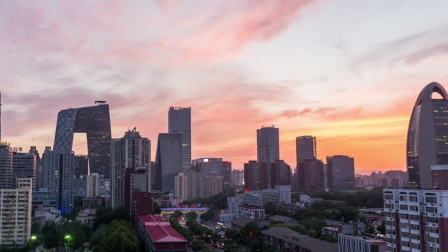 Time Lapse- High angle view of Beijing Skyline at Dusk, Day to Dusk Transition (WS HA Panning)