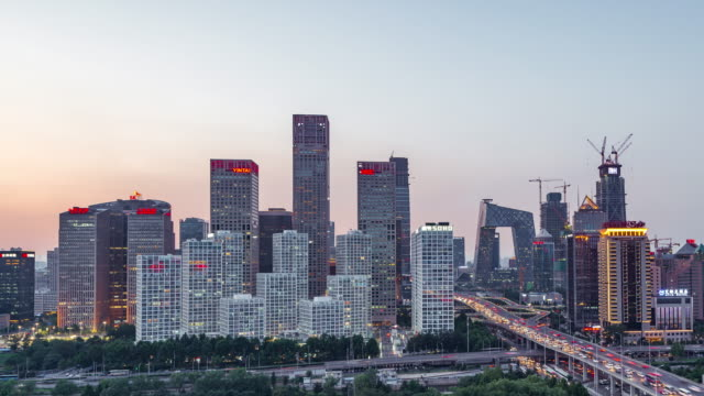 Time Lapse- High angle view of Beijing Skyline at Dusk, Day to Night Transition
