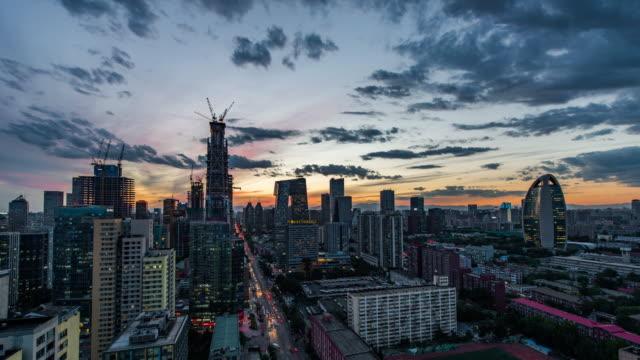 Tijd Lapse hoge hoekmening van Peking Skyline, dag aan nacht overgang