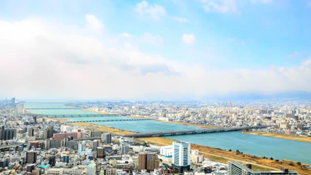 HD Time Lapse : High angle view of Osaka city