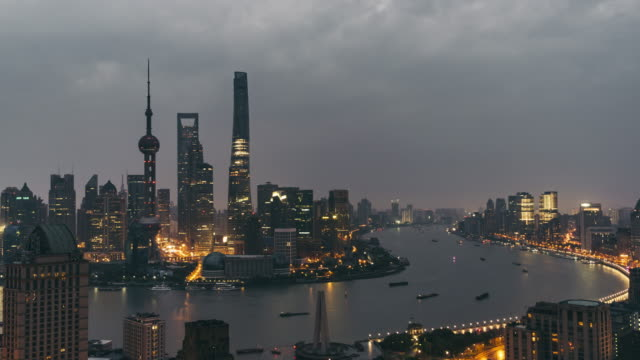 Time Lapse- High Angle View of Shanghai Skyline, Dawn to Day Transition (PAN)