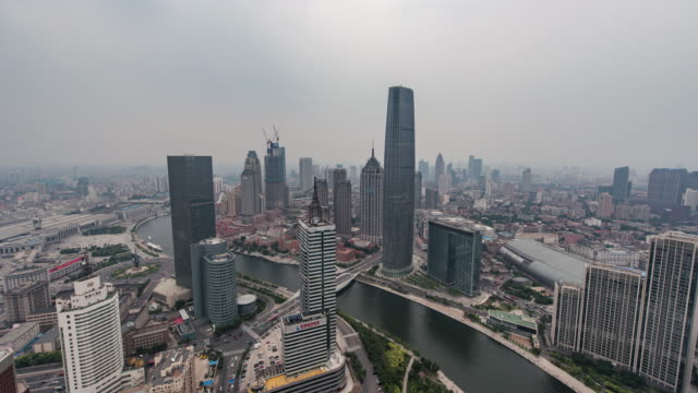 Time Lapse- High angle view of Tianjin Skyline (Zoom)