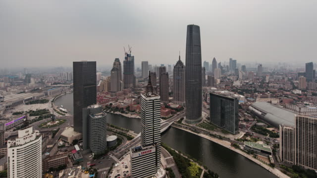 time lapse- high angle view of tianjin skyline - hai river stock videos & royalty-free footage