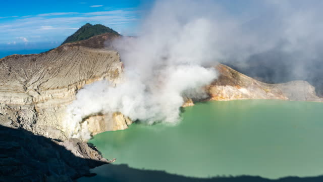 4K Time lapse High Angle/Zoom out Crater ijen volcano, East Java, Indonesia