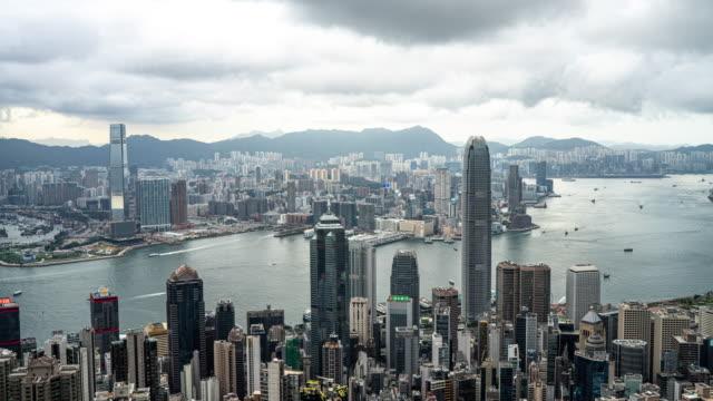 zeitraffer : hong kong, eine stadt der geschäftsleute und investoren - insel hong kong island stock-videos und b-roll-filmmaterial