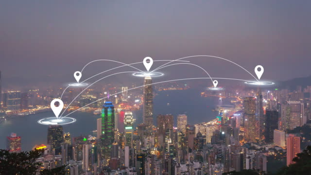 time lapse: hong kong aerial view with futuristic technology network connection concept. - smart city stock videos & royalty-free footage