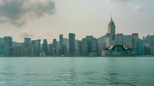 Time lapse Hong Kong City skyline. View from across Victoria Harbor Hongkong.