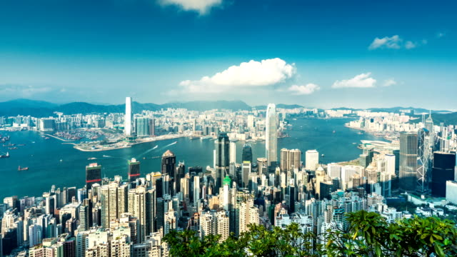 4K time lapse Hong Kong city view point.
