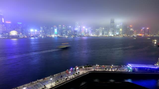 time lapse hong kong illuminated promenade victoria harbour - tsim sha tsui stock videos & royalty-free footage