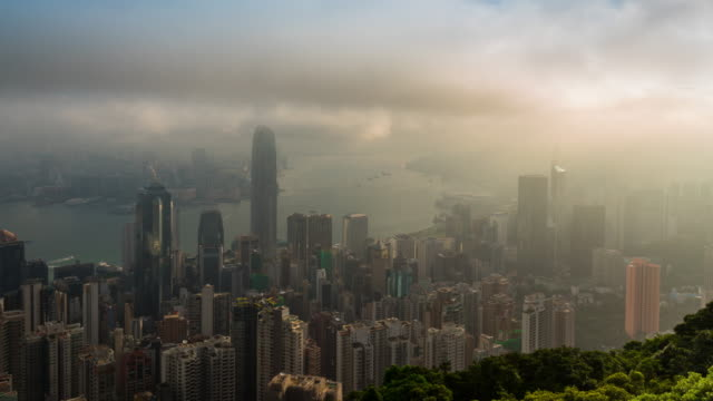 Time Lapse : Hong Kong panoramic cityscape in the misty day