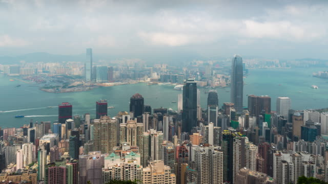 Time Lapse : Hong Kong panoramic view from Victoria Peak viewpoint