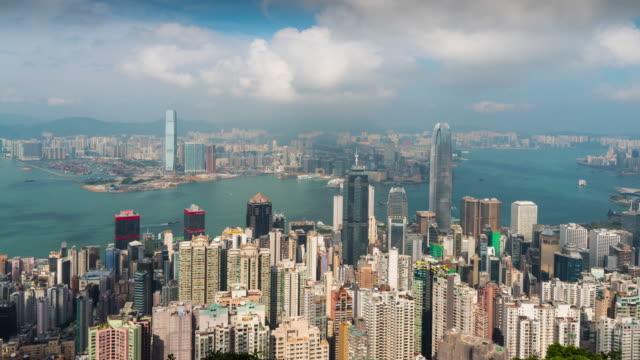 vídeos de stock e filmes b-roll de time lapse : hong kong panoramic view from victoria peak viewpoint - victoria peak