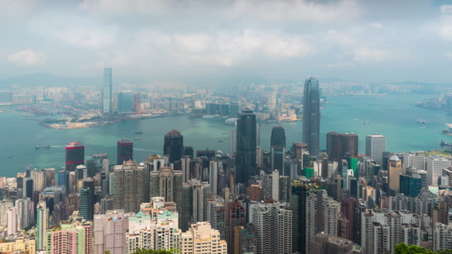 time lapse : hong kong panoramic view from victoria peak viewpoint - wide angle stock videos & royalty-free footage
