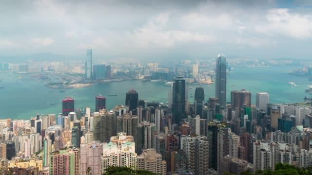 vídeos y material grabado en eventos de stock de lapso de tiempo: vista panorámica de hong kong desde el mirador de victoria peak - península