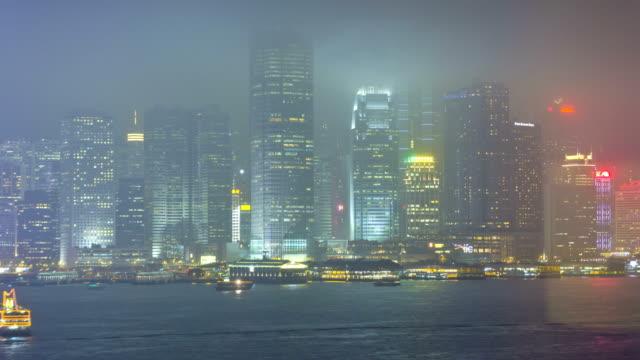Time lapse Hong Kong Promenade illuminated nautical vessels