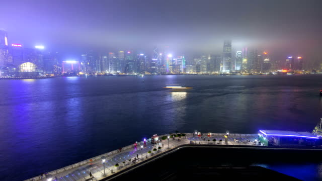 time lapse hong kong promenade victoria harbour china - tsim sha tsui stock videos & royalty-free footage