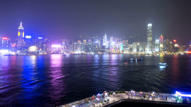 time lapse hong kong victoria harbour ferries china - tsim sha tsui stock videos & royalty-free footage