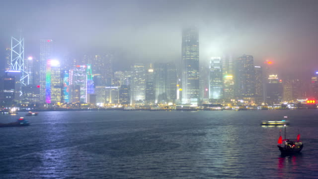 time lapse hong kong victoria harbour illuminated water - bank of china tower hong kong stock videos & royalty-free footage