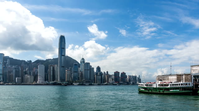 4k time lapse hong kong victoria peak and star ferry city scenery - star ferry stock videos & royalty-free footage