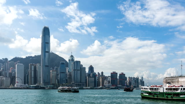 4K Time Lapse Hong Kong Victoria Peak and Star Ferry City scenery/zoom out