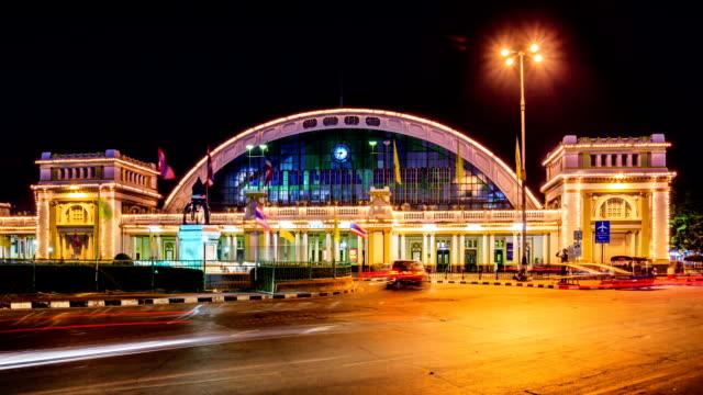 hd time lapse, hualamphong railway junction at night ,bangkok landmark, thailand, - railway junction stock videos & royalty-free footage
