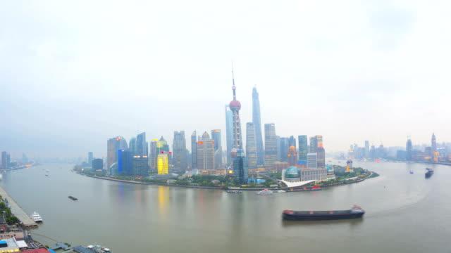 time lapse huangpu river lujiazui pearl tower shanghai - river huangpu stock videos & royalty-free footage