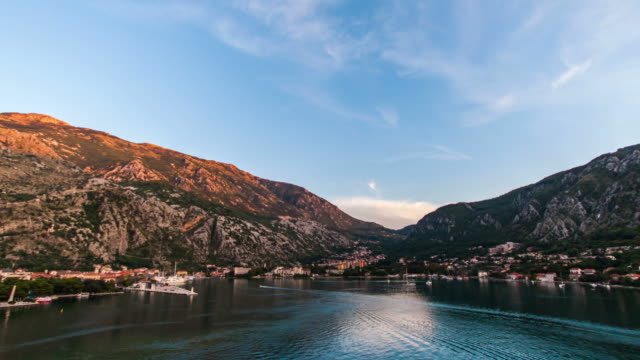 time lapse hyper lapse shot from ship leaving cotor - montenegro stock videos & royalty-free footage