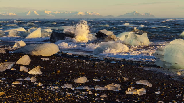 time lapse ice design, southern iceland, iceland, europe - tide stock videos & royalty-free footage