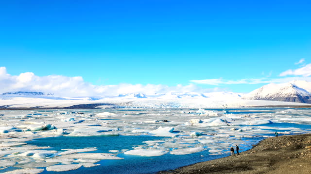 hd time lapse : icebergs at jokulsarlon. iceland - lagoon stock videos & royalty-free footage