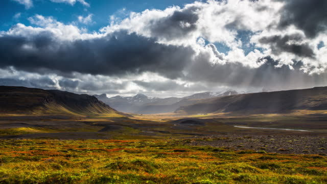 time lapse: icelandic landscape - dramatic sky stock videos & royalty-free footage