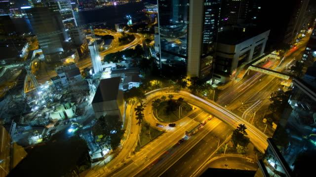 time lapse illuminated city view downtown hong kong - hong kong island stock videos & royalty-free footage