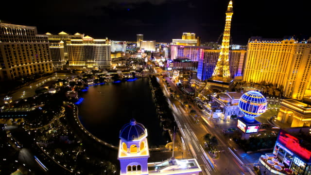 time lapse illuminated eiffel tower traffic las vegas - las vegas replica eiffel tower stock videos and b-roll footage