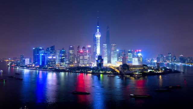 time lapse illuminated shanghai tower huangpu river china - river huangpu stock videos & royalty-free footage