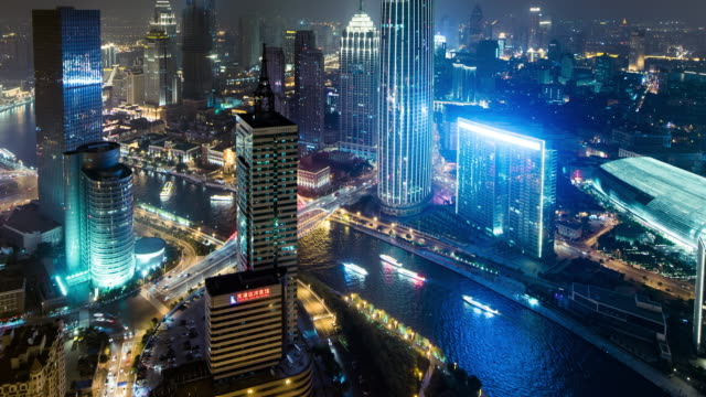 Time Lapse- Illuminated Skyscrapers in Tianjin at night (Panning)