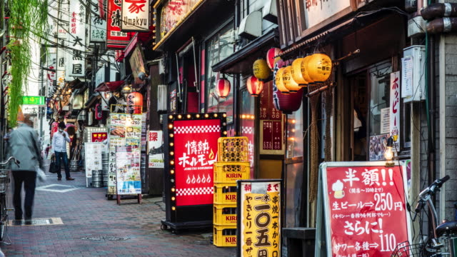 Time lapse in a narrow street at Shinjuku