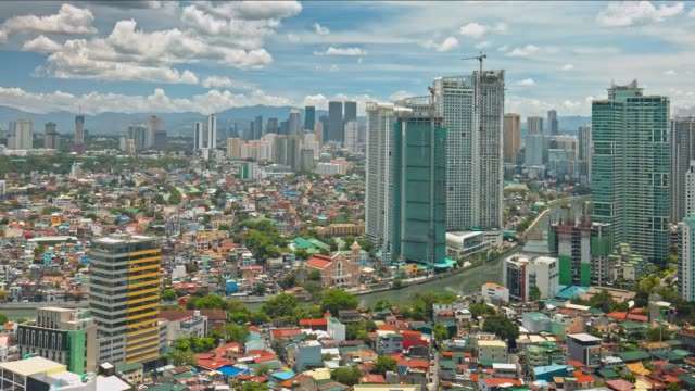 time lapse in manila makati on a sunny day, philippines - filippine video stock e b–roll