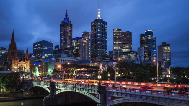 Time lapse in Melbourne, Australia at dusk