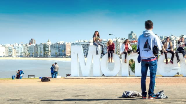 time lapse in montevideo sign, montevideo, uruguay - place sign stock videos & royalty-free footage