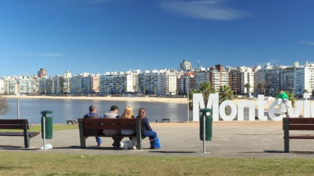 Time lapse in Montevideo sign, Pocitos neighbourhood, Montevideo, Uruguay