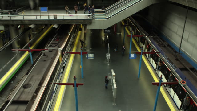 Time lapse in motion of subway station