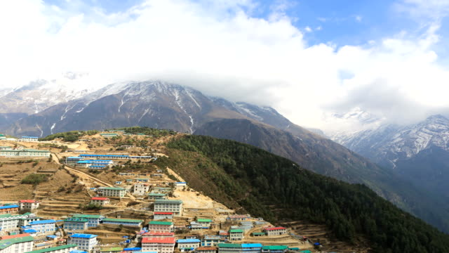 time lapse in namche bazaar in nepal - khumbu stock videos & royalty-free footage