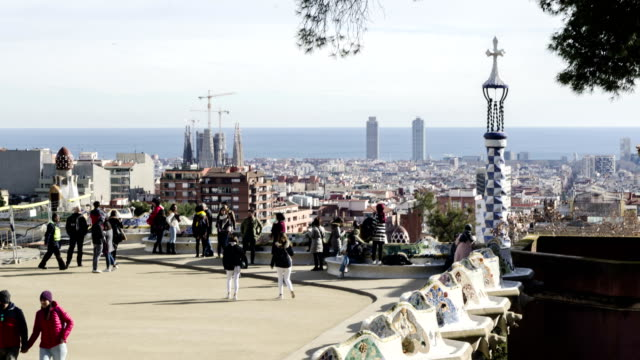 4k time lapse in park guell,  barcelona - ceramic stock videos & royalty-free footage