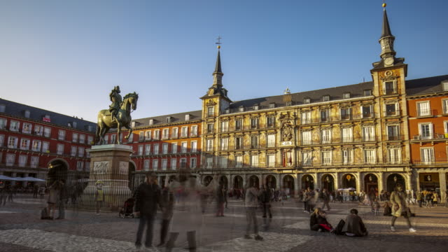 time lapse in plaza mayor, madrid, spain - spanish culture stock videos & royalty-free footage
