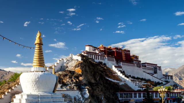 time lapse in potala palace - stupa stock videos & royalty-free footage