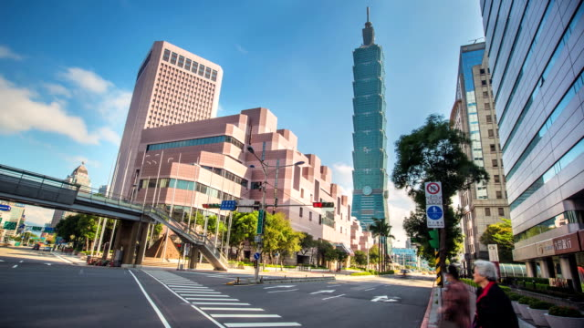 time lapse in the centre of taipei - taipei 101 stock videos & royalty-free footage